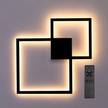 Zerouno modern LED wall lamp remote controller light mounted living room sconce decoration square base fixtures 24W black 110V