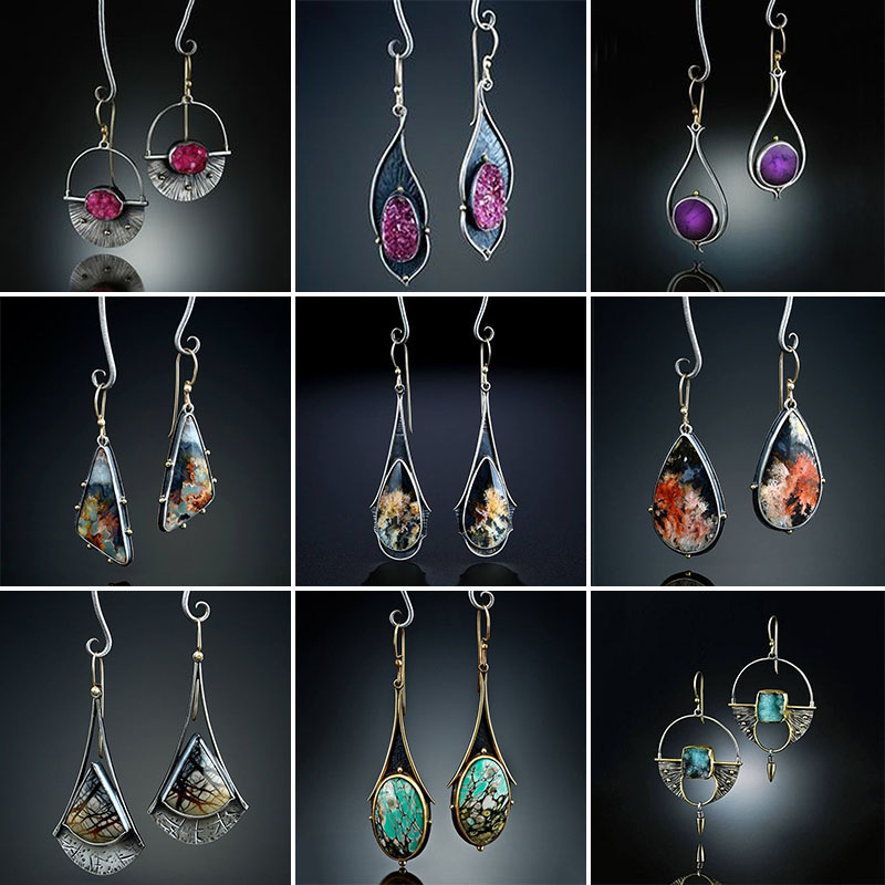 2019 Vintage Ethnic Hook Dangle Drop Earrings for Women Female Resin Bridal Party Wedding Jewelry Ornaments Accessories O5D