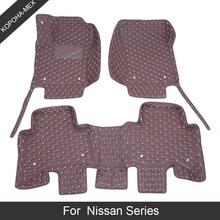 Custom Car Floor Mats For Nissan X Trail Altima Qashqai AD Patrol Tiida Juke Fuga March Murano Serena Series Leather 3D Car Mats
