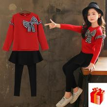 Clothing for girl  2018 New Butterfly Knot Suit Korean Edition Leisure Long Sleeve Guard + Skirt and Trousers Two piece Suit