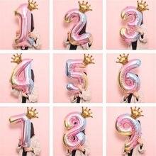 32 pulgadas corona arco iris grandes globos número 0 1 2 3 4 5 6 7 8 9 Digital globos de helio boda decoraciones para fiesta de cumpleaños chico