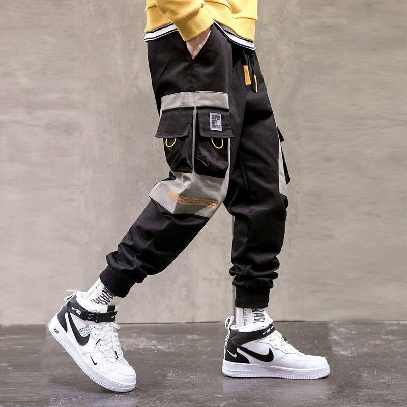 Japan Cargo Pants Men Loose Hip Hop Streetwear Joggers Korean Pocket Patchwork Harem Pants Ankle Length Trousers Techwear Males