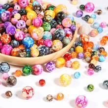 Perles rondes acryliques Imitation pierre naturelle, 8 10 12 14mm, perles à effet de nuages pour la fabrication de bijoux, Bracelet et collier, accessoire de bricolage