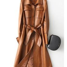 PUDI Neue Frauen Kleid Stil Echte Schafe Leder Mantel Dame Einfache Stil Jacke Herbst/winter Graben Mantel A28214