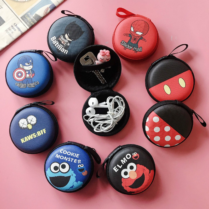 Cartoon Cute Earphone Case PU Leather Headphone Storage Box Protective USB Cable Organizer Earbuds Pouch Bag Earphone Bag