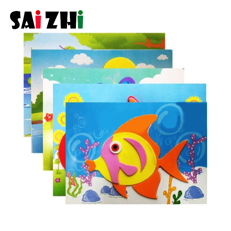Saizhi Diy Early Learning Education Toys For Children DIY Cartoon Animal 3D EVA Foam Sticker Puzzle Series Toys