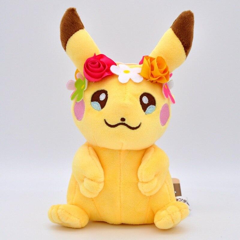 Takara Tomy Pikachu With Wreath Stuffed Animal Soft Plush Doll Cute Flower 20CM PP Cotton Christmas Birthday Gift