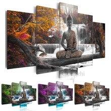 Торжественно Будда холст картина 5 шт. модульная печать абстрактный дзен медитировать Искусство Пейзаж Плакат Украшение дома без рамки