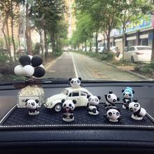 Car Ornaments Resin Mini Cute Small Panda Doll Multiple Combinations For Car Dashboard Instrument Pa