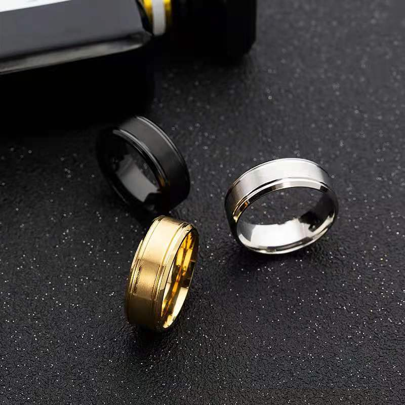 Fashion Personality Gift Simple Ring Stainless Steel 8 Mm Wide Matte Double Cone Simple Retro Ring 2021 Trend Party Gift