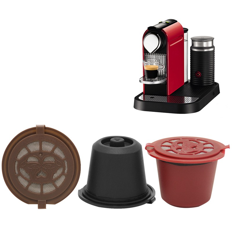 3pcs/pack Reutilisable Coffee Capsule Nespresso Cups Cafe Coffee Filters Dripper Plastic Spoon Filter Pod Kitchens Accessories