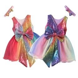 Gradiente lantejoulas unicorn meninas vestido verão sem mangas crianças vestidos para meninas princesa festa arco-íris vestido de baile crianças roupas