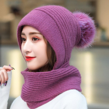 цена на HT2680 Winter Accessories Big Fur Pompoms Earflap Cap Thick Warm Knitted Hat Women Wool Hat with Scarf Lady Winter Hat Scarf Set