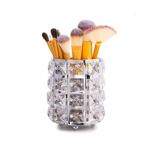 Suporte de pincel de maquiagem, organizador dourado com cristal, pente de ouro personalizado, caneta, recipiente de armazenamento, pote de cristal