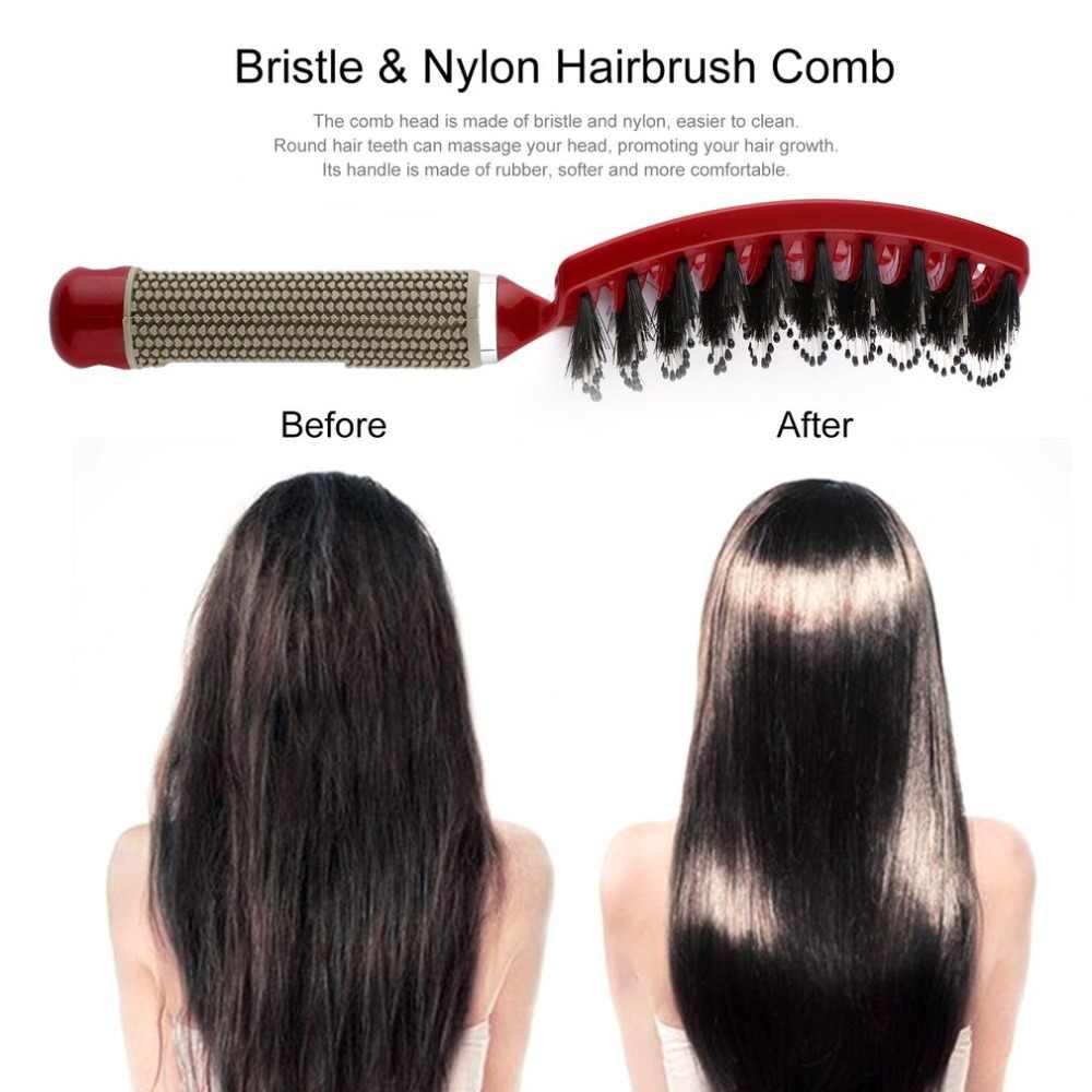 Cabelo feminino couro cabeludo massagem pente de cerdas & náilon escova de cabelo encaracolado molhado desembaraçar escova de cabelo para salão de cabeleireiro ferramentas de estilo novo