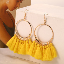HOCOLE Fashion Tassel Earrings For Women Bohemian Gold Color Big Circle Fringed Hanging Drop Dangle Earring Jewelry Wholesale bfh fashion charm large circle tassel drop earrings for women girl wedding party bohemian long earring jewelry gift wholesale