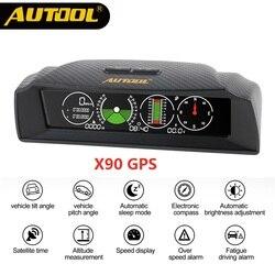 مقياس انحدار سرعة PMH KMH من AUTOOL X90 لتحديد المواقع/OBD2 مقياس الميل بزاوية ميل بوصلة للسيارات بوصلة HUD زاوية ميل منقلة ساعة خطوط الطول