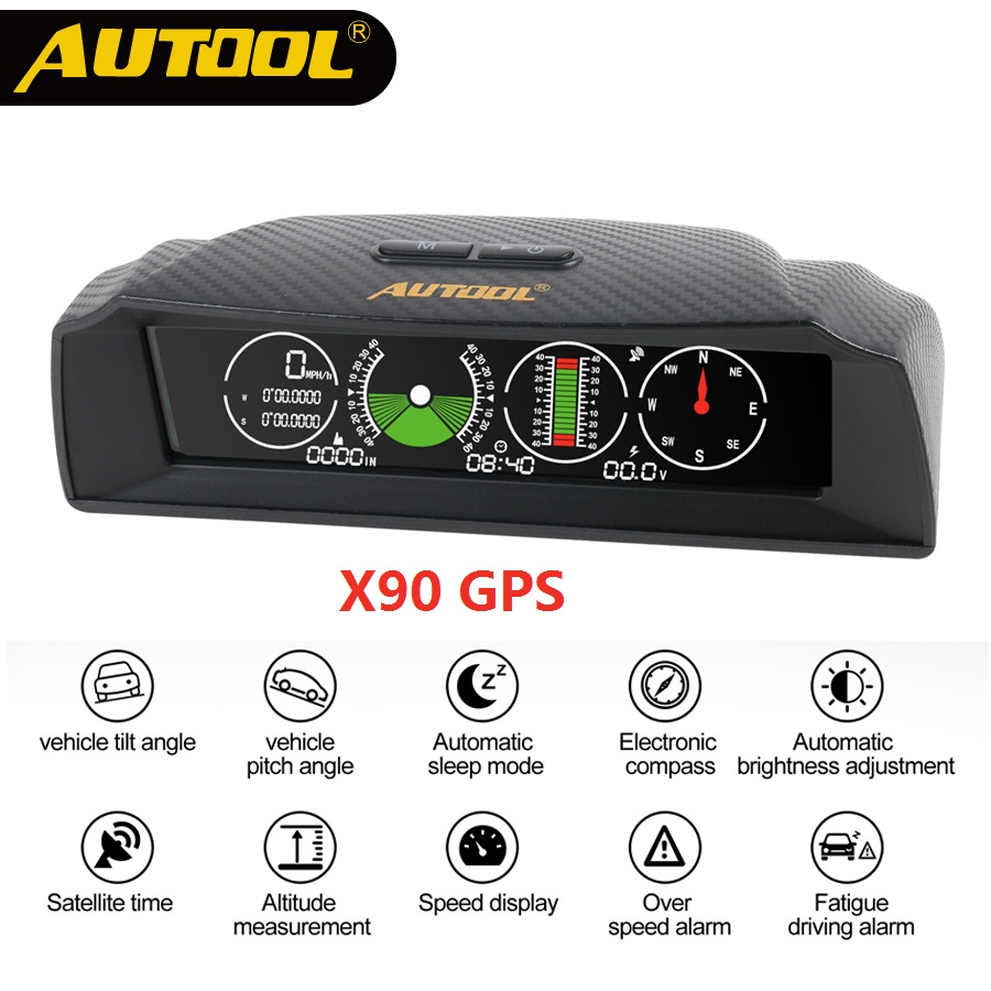 AUTOOL X90 GPS/OBD2 Speed PMH KMH Slope Meter Inclinometer Car Compass HUD Pitch Tilt Angle Protractor Clock Latitude Longitude