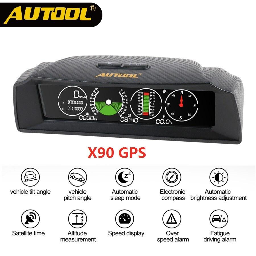 Autool x90 스마트 gps 슬로프 미터 자동차 나침반
