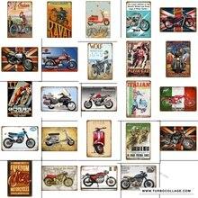 Carteles de Metal de motocicleta italiana pegatinas de pared ciclos motores placa Vintage Retro Pub Bar garaje hogar Decoración Vespa póster YH056