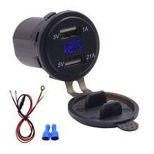 Dual Usb poort Auto oplader Met LED Voltmeter Mobiele Telefoon Opladen Stopcontact Adapter Voor Auto Marine ATV Boot Motorfiets truck