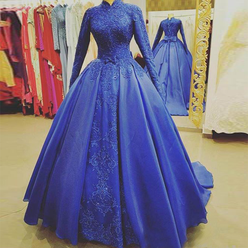 Royal Blue Muslim Evening Dresses Satin Long Sleeves Formal Party Prom Dress Custom Made Robe De Soriee 2020 A Line Prom Gowns