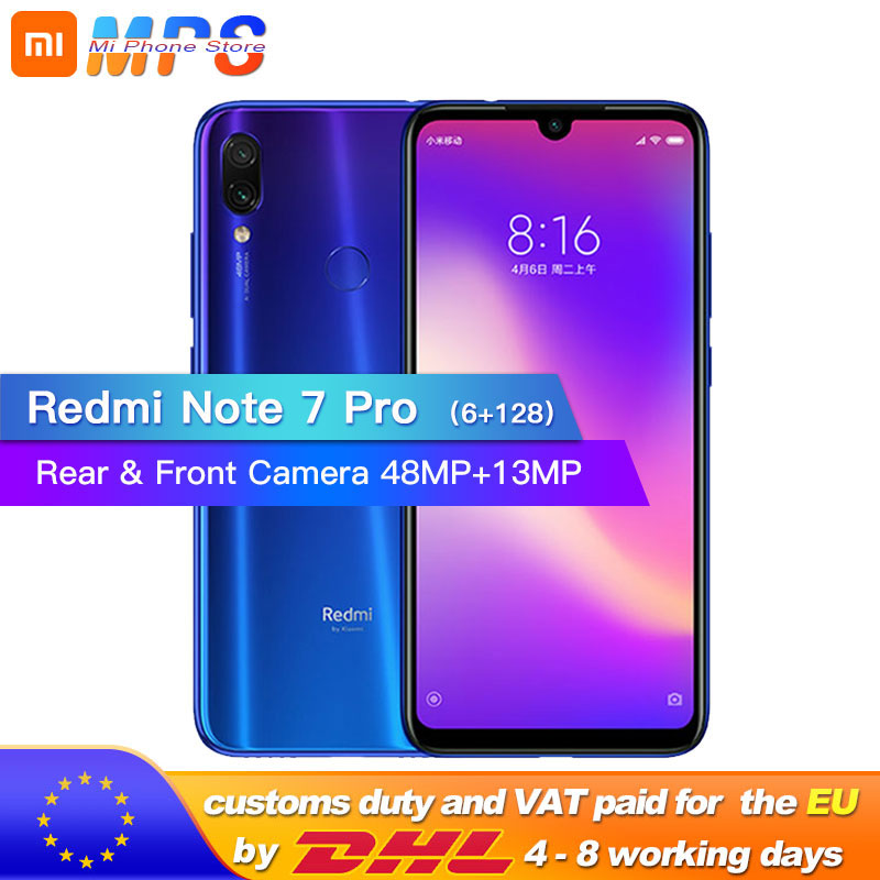 New Xiaomi Redmi Note 7 Pro 6GB 128GB Telephone Snapdragon 675 Octa Core 4000mAh 6.3 Water Drop Full Screen 48+13MP Smartphone-in Cellphones from Cellphones & Telecommunications