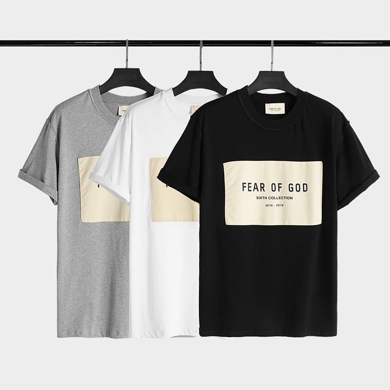 Medo og deus verão manga curta moda masculina solta manga curta camiseta letras impresso algodão roupas marca