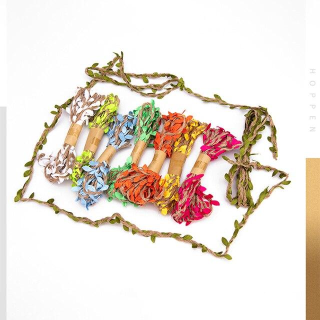 3 м/лот 5 мм имитация листьев тканая пеньковая веревка сделай фотография