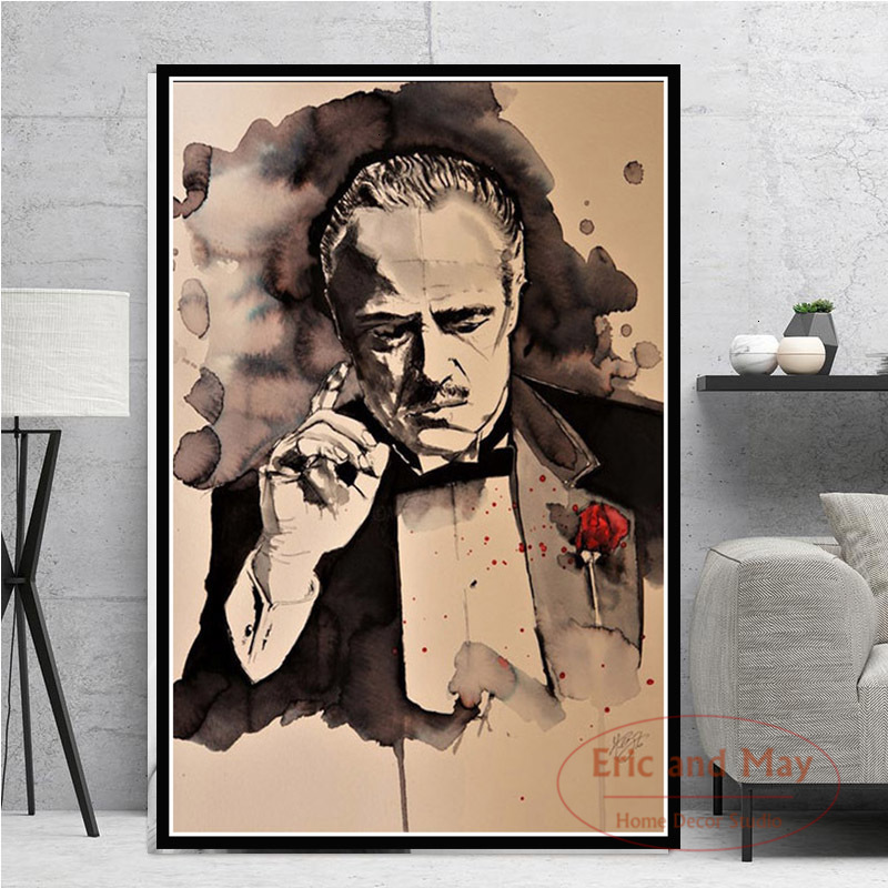 Poster And Prints Hot The Godfather Classic Movie Gangster Actor Painting Art Canvas Wall Pictures For Living Room Home Decor