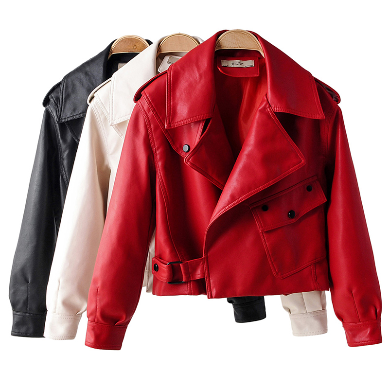 2020 New Autumn Women Faux Leather Jacket Pu Motorcycle Biker Coat Turndown Collar Loose Streetwear Black Punk Outerwear ZCWXM