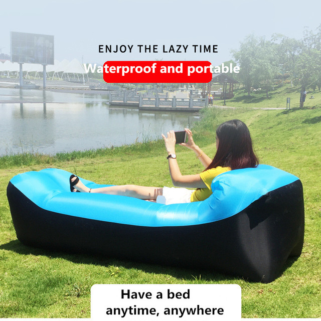 Lazy Pillow Waterproof Lazy Inflatable Sofa Portable outdoor beach air sofa bed Sleeping bag bed Oxford cloth 240*70cm 4