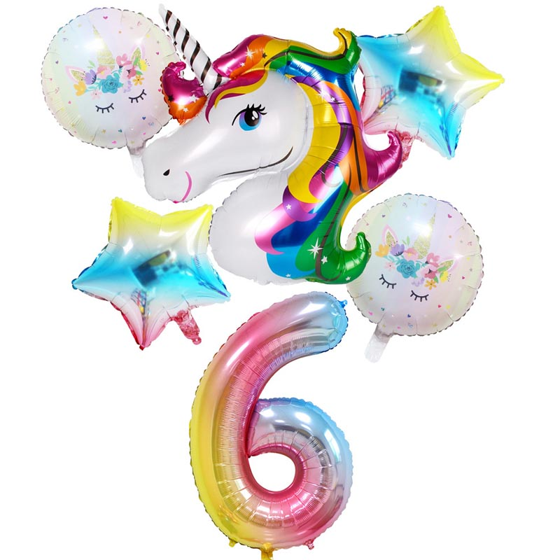 Twins Party 6pcs Rainbow Gradient Unicorn Balloons Happy Birthday Balloons Baby Shower Party Kids Unicorn Party Wedding Ballons in Ballons Accessories from Home Garden
