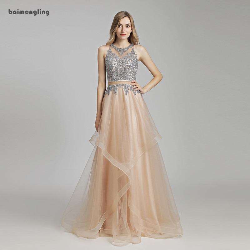 two pieces prom dress, formal lace appliques charming dress