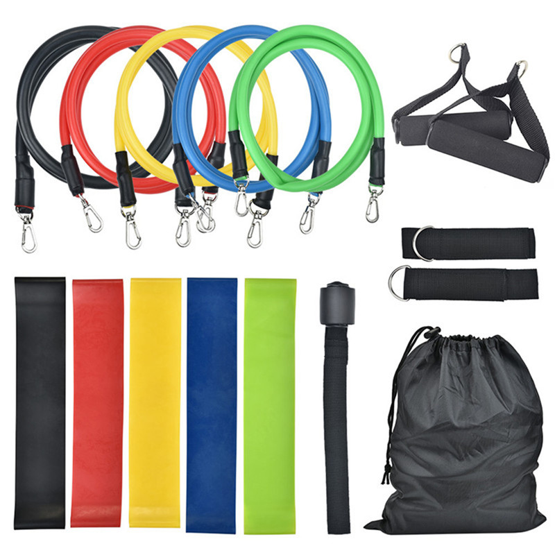 11pcs16Pcs Resistance Bands Set Tube Exercise Bands Durarle Loop Stretching Elastic Bands Workout Fitness Elastic Band Pull Rope