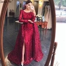 이슬람 와인 레드 긴 퍼프 소매 기차 인 어 공주 이브닝 드레스 가운 2021 여성을위한 공식적인 드레스 고요한 힐 LA70406