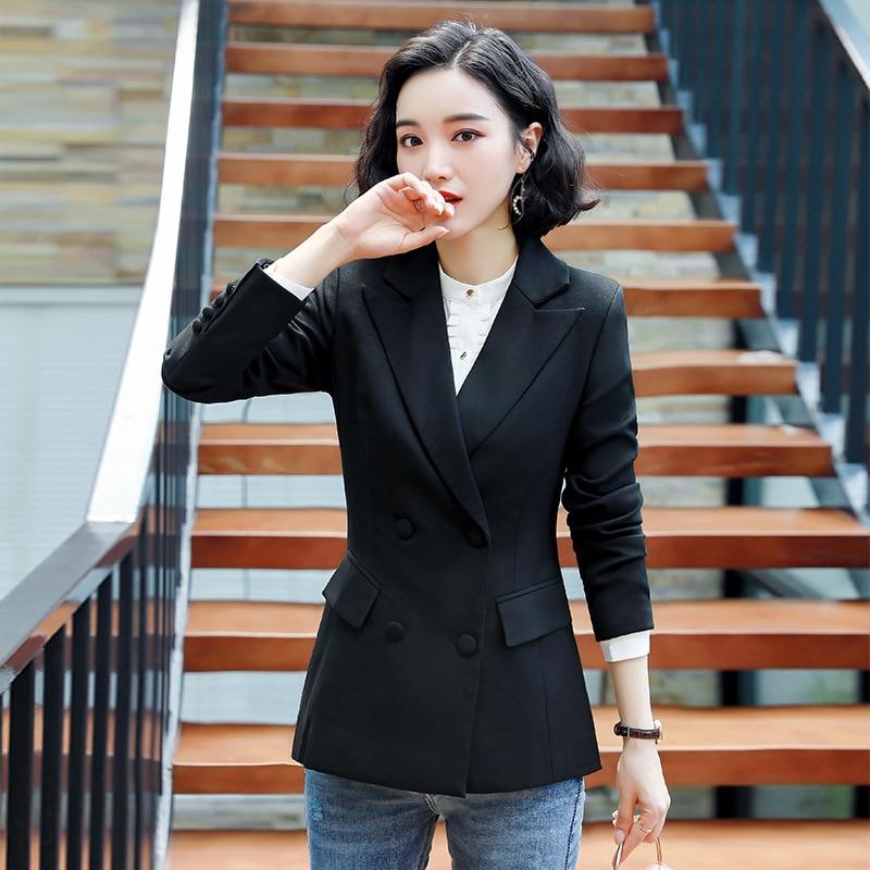 Temperament Professional Women's Jacket 2019 New Double-breasted Long-sleeved Ladies Black Suit Elegant Office Female Blazer