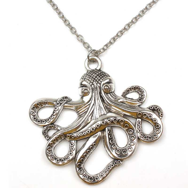 New Hot Big Octopus Necklace Retro Alloy Marine Animal Pendant Long Chain Men and Women Party Souvenir Friends Gift Choker