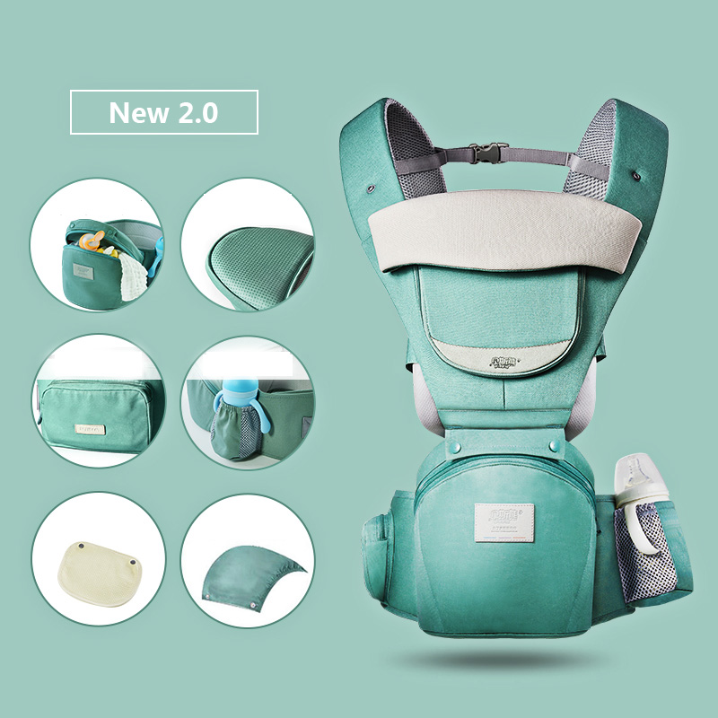MMloveBB Ergonomic Baby Carrier Infant Baby Hipseat Waist Carrier Front Facing Ergonomic Kangaroo Sling for Baby Travel 0-36M