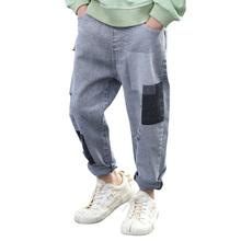 Dżinsy chłopięce Big Hole dziecięce dżinsy dla chłopców Patchwork dżinsy dziecięce list dżinsy dziecięce ubrania 6 8 10 12 14 tanie tanio Honikuyi Na co dzień Pasuje prawda na wymiar weź swój normalny rozmiar 11N0260 Elastyczny pas Chłopcy REGULAR Medium
