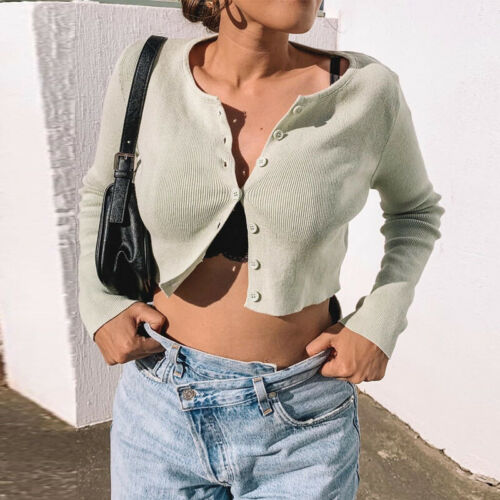 Women's Long Sleeve Open Front Cardigan Button Up Knitting Jumper Crop Tops Spring Fashion Casual Butoon Elastic Short Sweater