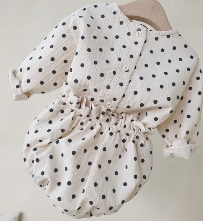 Baby Newborn Sets For Girls Long Sleeve Polka Dot Tops+PP Shorts 2 Pcs Infant Cotton Linen Clothing Set Baby Girl Clothes Outfit