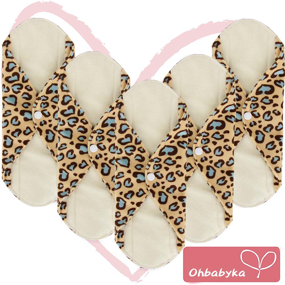 Ohbabyka 5PCS Bamboo Sanitary Pads Reusable Washable Mama Cloth Pad Menstrual Sanitary Super-Absorbent Maternity Pad Size S M