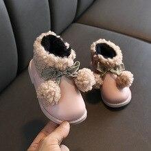 Новинка; зимние детские ботинки для девочек; бархатная теплая хлопковая обувь для маленьких принцесс