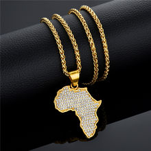 Africa Map Pendant Necklace for Men/Women Gold Cubic Zirconia Rhinestone Necklaces Mens Stainless Steel Bling Jewelry(Hong Kong,China)