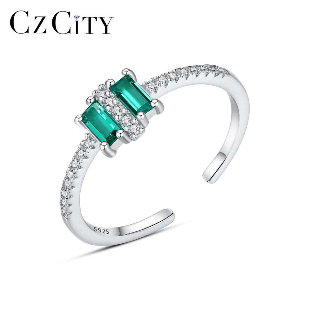 CZCITY Real 925 Silver Sterling Square Green Topaz Resizeable Rings For Women With Micro CZ Open Ring Fine Jewelry Gifts SR0311
