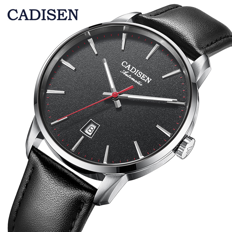 CADISEN 8173 Japan NH35A Movt Mechanical Watches Luxury Sapphire Watch Man Casual Business Leather Wristwatch Relogio 5Bar Clock
