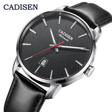 Cadisen 8173 Japan NH35A Movt Mechanische Horloges Luxe Sapphire Horloge Man Casual Business Lederen Polshorloge Relogio 5Bar Klok