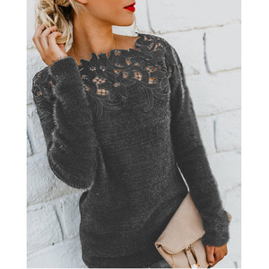 2020 Winter New Ladies Shirt Solid Color Stitching Lace Long-sleeved Sweater Soft Winter Ladies Plush