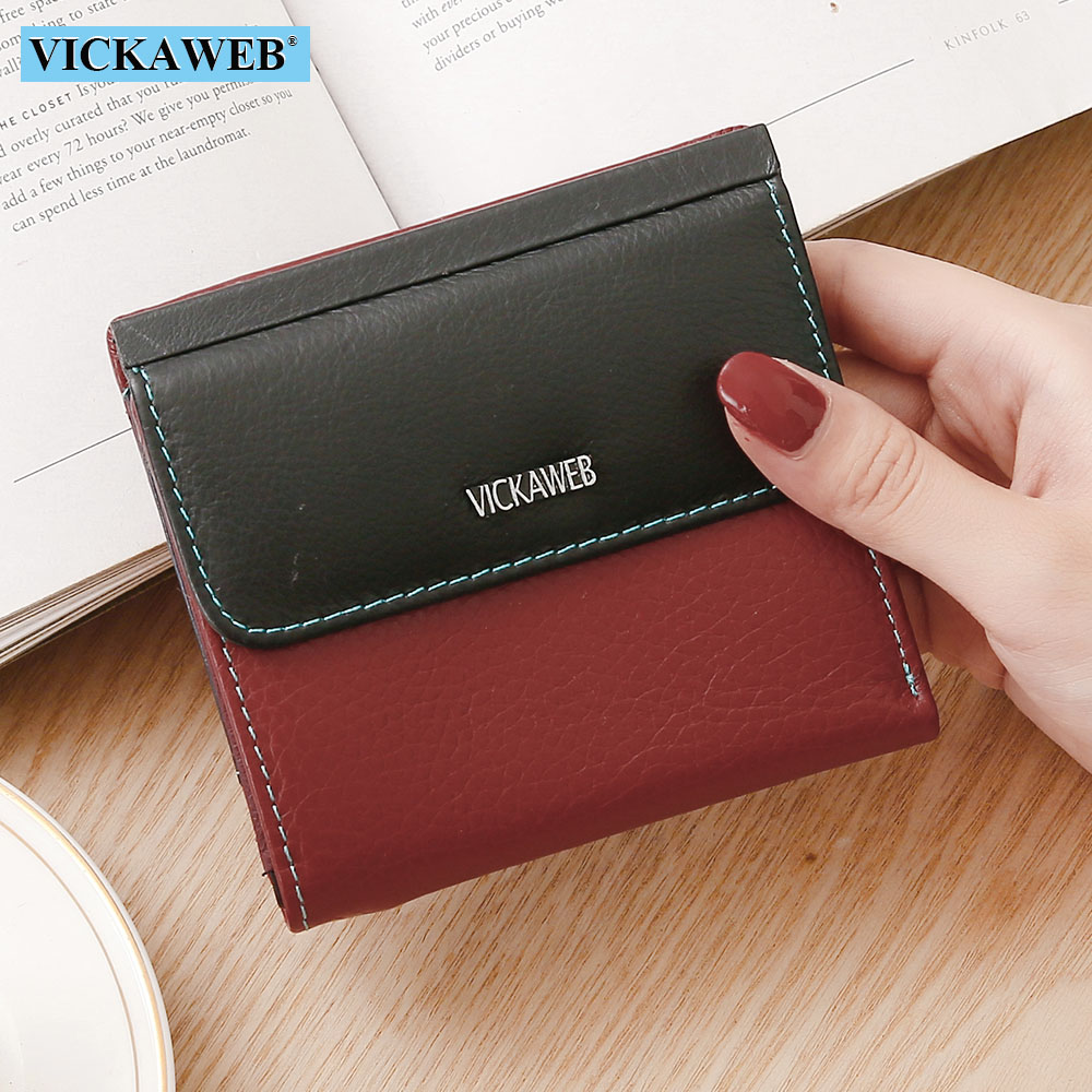 VICKAWEB Women Wallets Fashion Genuine Leather Female Purse Hasp Short Ladies Wallet Mini Cute Walet Womens Wallets And Purses